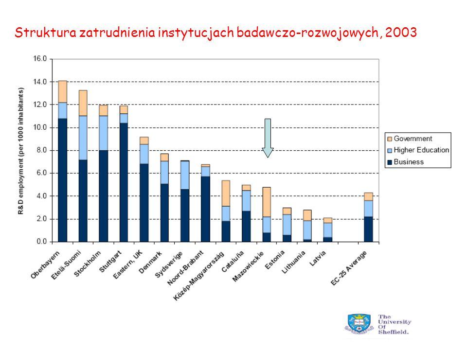 Struktura zatrudnienia instytucjach badawczo-rozwojowych, 2003