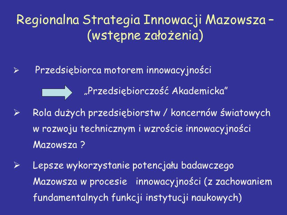 """Regionalna Strategia Innowacji Mazowsza – (wstępne założenia)  Przedsiębiorca motorem innowacyjności """"Przedsiębiorczość Akademicka  Rola dużych przedsiębiorstw / koncernów światowych w rozwoju technicznym i wzroście innowacyjności Mazowsza ."""