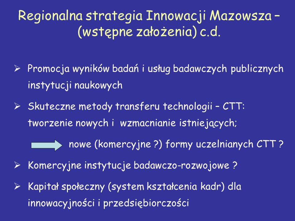 Regionalna strategia Innowacji Mazowsza – (wstępne założenia) c.d.  Promocja wyników badań i usług badawczych publicznych instytucji naukowych  Skut