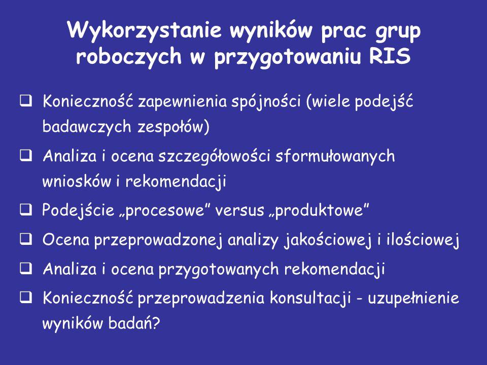 """Wykorzystanie wyników prac grup roboczych w przygotowaniu RIS  Konieczność zapewnienia spójności (wiele podejść badawczych zespołów)  Analiza i ocena szczegółowości sformułowanych wniosków i rekomendacji  Podejście """"procesowe versus """"produktowe  Ocena przeprowadzonej analizy jakościowej i ilościowej  Analiza i ocena przygotowanych rekomendacji  Konieczność przeprowadzenia konsultacji - uzupełnienie wyników badań?"""