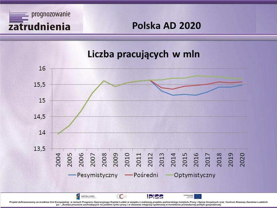 Polska AD 2020 Liczba pracujących w mln