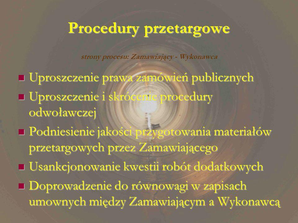 Procedury przetargowe Uproszczenie prawa zamówień publicznych Uproszczenie prawa zamówień publicznych Uproszczenie i skrócenie procedury odwoławczej Uproszczenie i skrócenie procedury odwoławczej Podniesienie jakości przygotowania materiałów przetargowych przez Zamawiającego Podniesienie jakości przygotowania materiałów przetargowych przez Zamawiającego Usankcjonowanie kwestii robót dodatkowych Usankcjonowanie kwestii robót dodatkowych Doprowadzenie do równowagi w zapisach umownych między Zamawiającym a Wykonawcą Doprowadzenie do równowagi w zapisach umownych między Zamawiającym a Wykonawcą strony procesu: Zamawiający - Wykonawca