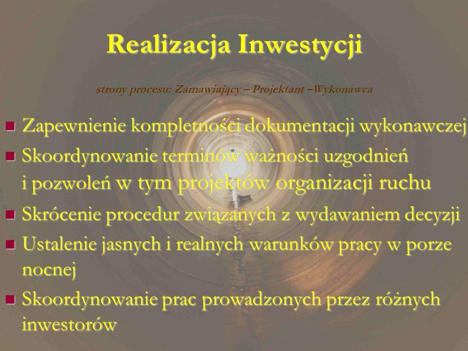 Realizacja Inwestycji Zapewnienie kompletności dokumentacji wykonawczej Zapewnienie kompletności dokumentacji wykonawczej Skoordynowanie terminów ważności uzgodnień i pozwoleń w tym projektów organizacji ruchu Skoordynowanie terminów ważności uzgodnień i pozwoleń w tym projektów organizacji ruchu Skrócenie procedur związanych z wydawaniem decyzji Skrócenie procedur związanych z wydawaniem decyzji Ustalenie jasnych i realnych warunków pracy w porze nocnej Ustalenie jasnych i realnych warunków pracy w porze nocnej Skoordynowanie prac prowadzonych przez różnych inwestorów Skoordynowanie prac prowadzonych przez różnych inwestorów strony procesu: Zamawiający – Projektant –Wykonawca