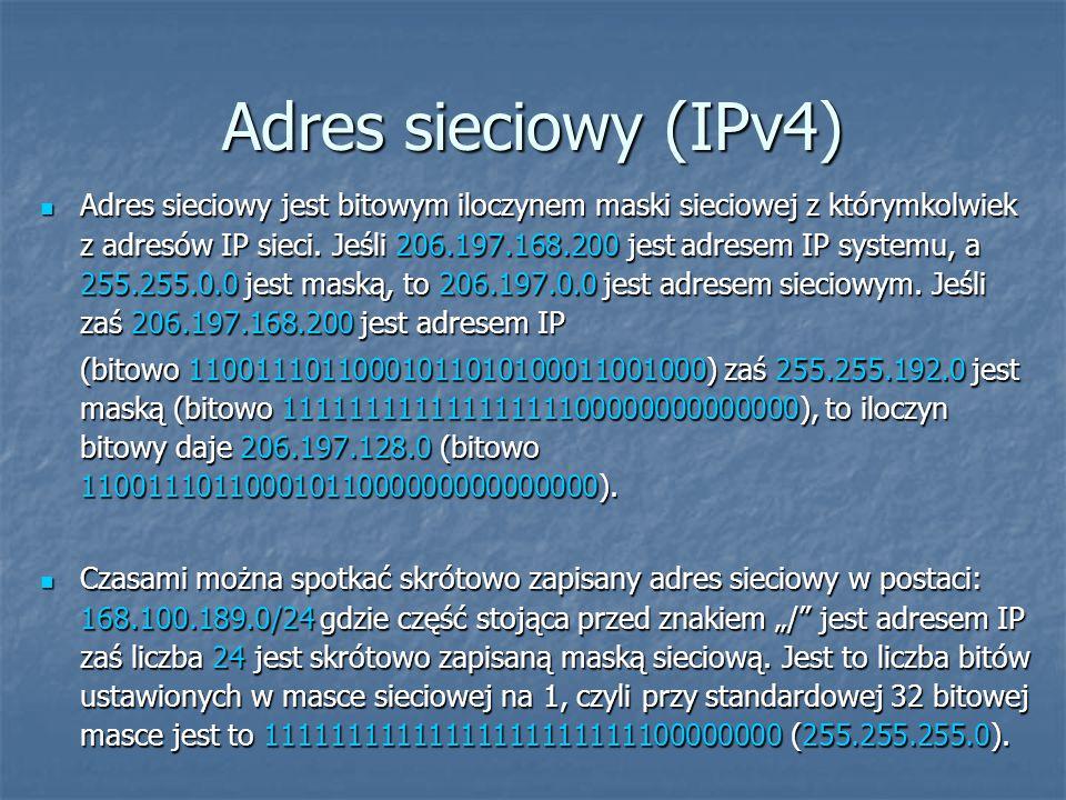 Adres sieciowy (IPv4) Adres sieciowy jest bitowym iloczynem maski sieciowej z którymkolwiek z adresów IP sieci. Jeśli 206.197.168.200 jest adresem IP