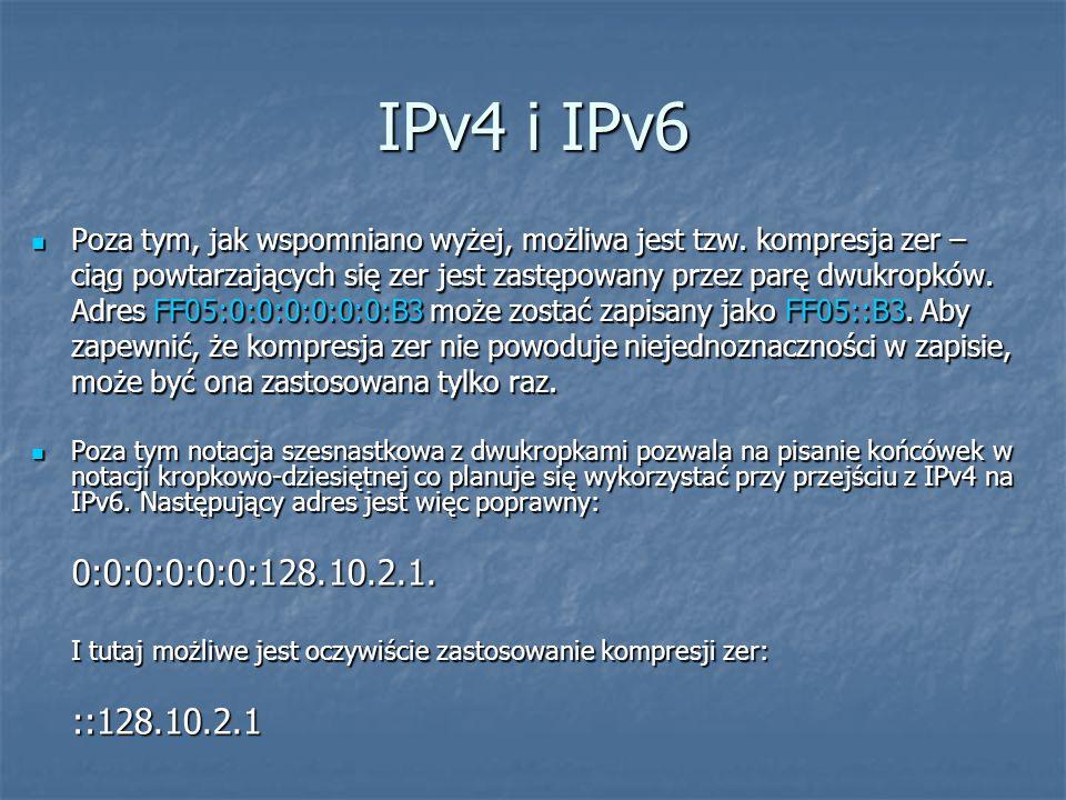 IPv4 i IPv6 Poza tym, jak wspomniano wyżej, możliwa jest tzw. kompresja zer – ciąg powtarzających się zer jest zastępowany przez parę dwukropków. Adre