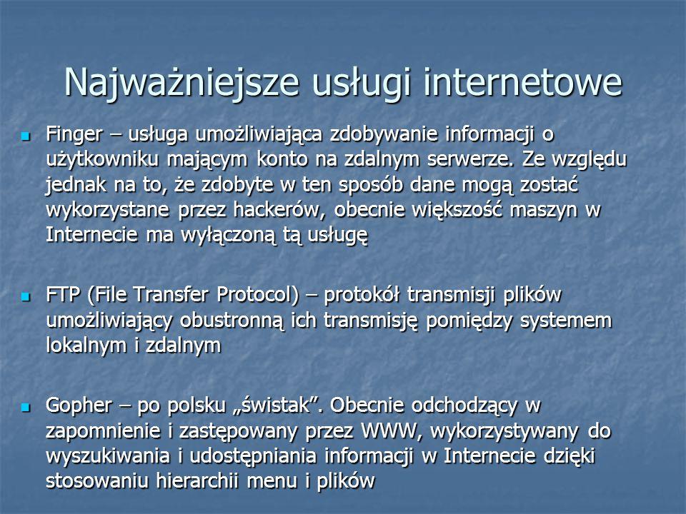 Najważniejsze usługi internetowe Finger – usługa umożliwiająca zdobywanie informacji o użytkowniku mającym konto na zdalnym serwerze. Ze względu jedna