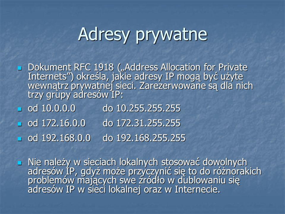 """Adresy prywatne Dokument RFC 1918 (""""Address Allocation for Private Internets ) określa, jakie adresy IP mogą być użyte wewnątrz prywatnej sieci."""