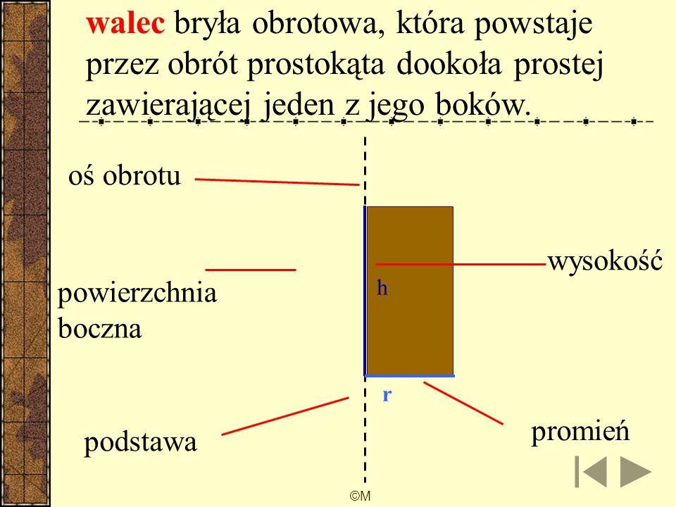 ©M Figura obrotowa to figura otrzymana w wyniku obrotu figury płaskiej dookoła prostej zawartej w płaszczyźnie tej figury o kąt α є (0 °, 360°).