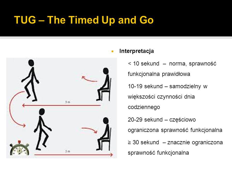  Interpretacja < 10 sekund – norma, sprawność funkcjonalna prawidłowa 10-19 sekund – samodzielny w większości czynności dnia codziennego 20-29 sekund