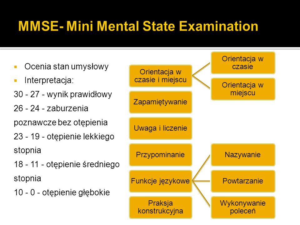  Ocenia stan umysłowy  Interpretacja: 30 - 27 - wynik prawidłowy 26 - 24 - zaburzenia poznawcze bez otępienia 23 - 19 - otępienie lekkiego stopnia 1