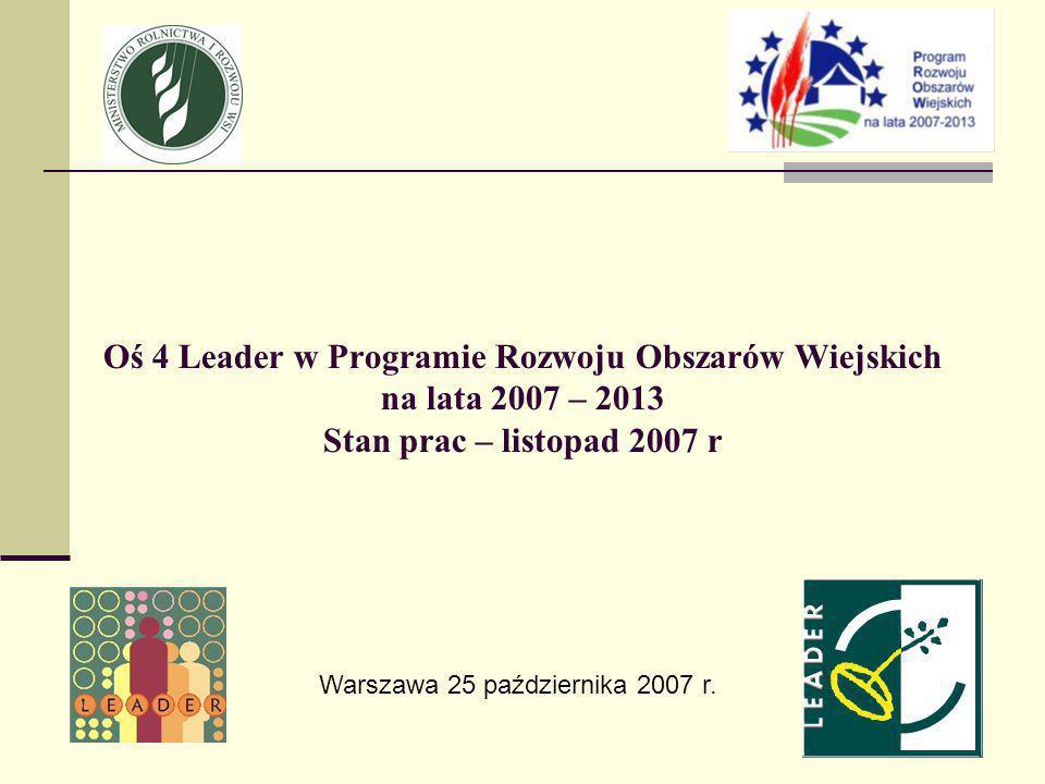 Oś 4 Leader w Programie Rozwoju Obszarów Wiejskich na lata 2007 – 2013 Stan prac – listopad 2007 r Warszawa 25 października 2007 r.