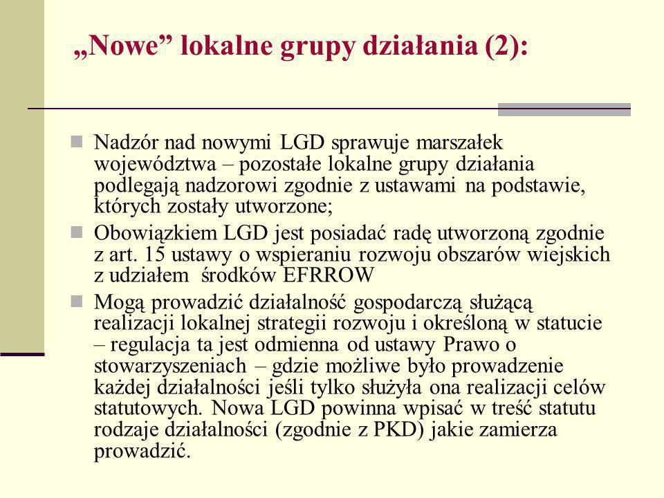 """""""Nowe lokalne grupy działania (2): Nadzór nad nowymi LGD sprawuje marszałek województwa – pozostałe lokalne grupy działania podlegają nadzorowi zgodnie z ustawami na podstawie, których zostały utworzone; Obowiązkiem LGD jest posiadać radę utworzoną zgodnie z art."""