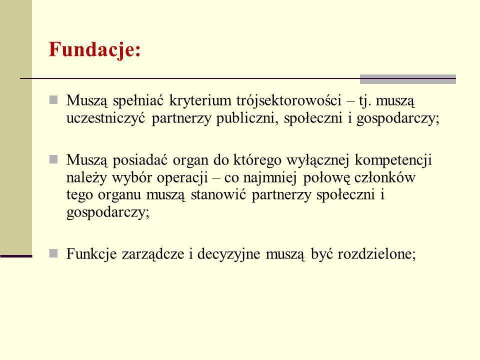 Fundacje: Muszą spełniać kryterium trójsektorowości – tj.
