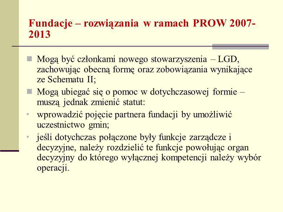 Fundacje – rozwiązania w ramach PROW 2007- 2013 Mogą być członkami nowego stowarzyszenia – LGD, zachowując obecną formę oraz zobowiązania wynikające ze Schematu II; Mogą ubiegać się o pomoc w dotychczasowej formie – muszą jednak zmienić statut: wprowadzić pojęcie partnera fundacji by umożliwić uczestnictwo gmin; jeśli dotychczas połączone były funkcje zarządcze i decyzyjne, należy rozdzielić te funkcje powołując organ decyzyjny do którego wyłącznej kompetencji należy wybór operacji.