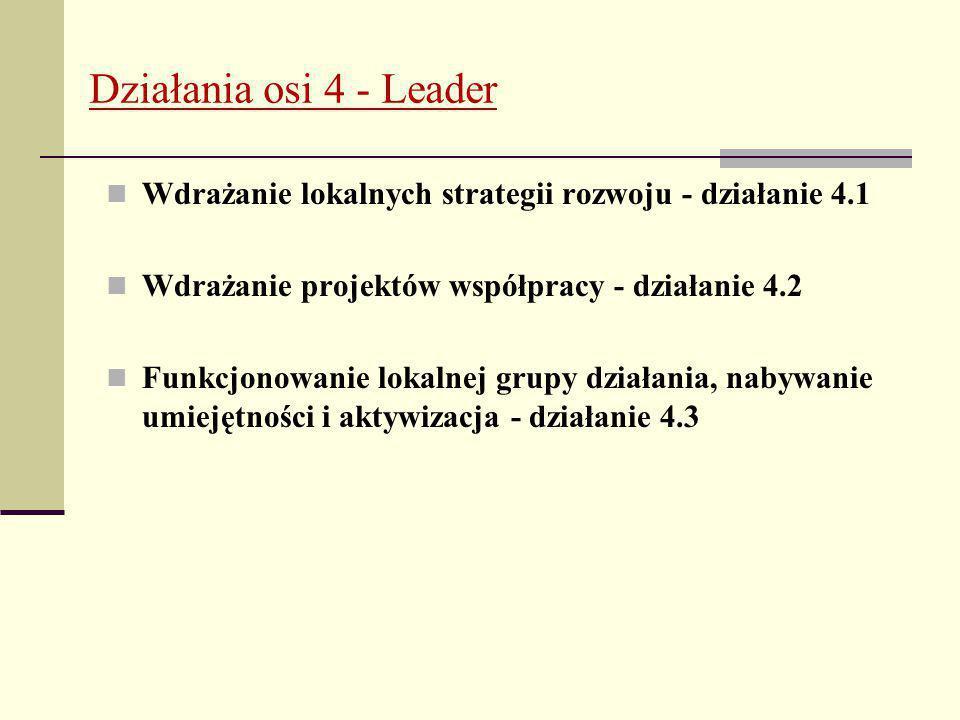 Działania osi 4 - Leader Wdrażanie lokalnych strategii rozwoju - działanie 4.1 Wdrażanie projektów współpracy - działanie 4.2 Funkcjonowanie lokalnej grupy działania, nabywanie umiejętności i aktywizacja - działanie 4.3
