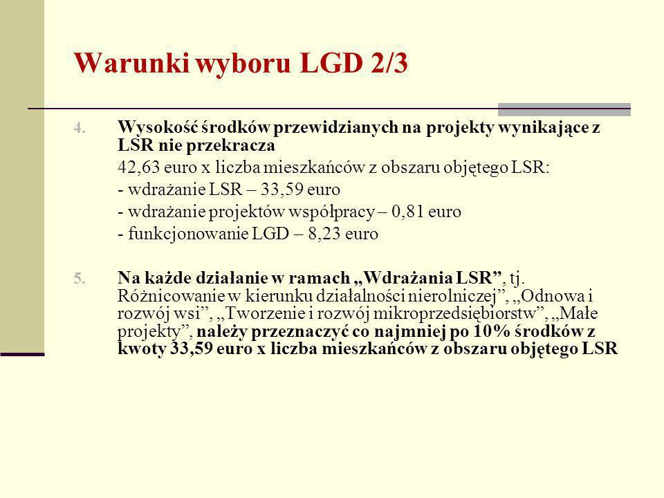 Warunki wyboru LGD 2/3 4.