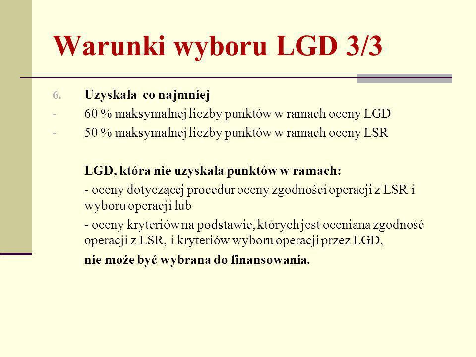 Warunki wyboru LGD 3/3 6.
