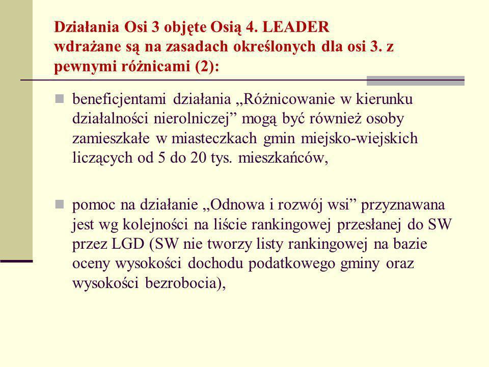 Działania Osi 3 objęte Osią 4. LEADER wdrażane są na zasadach określonych dla osi 3.