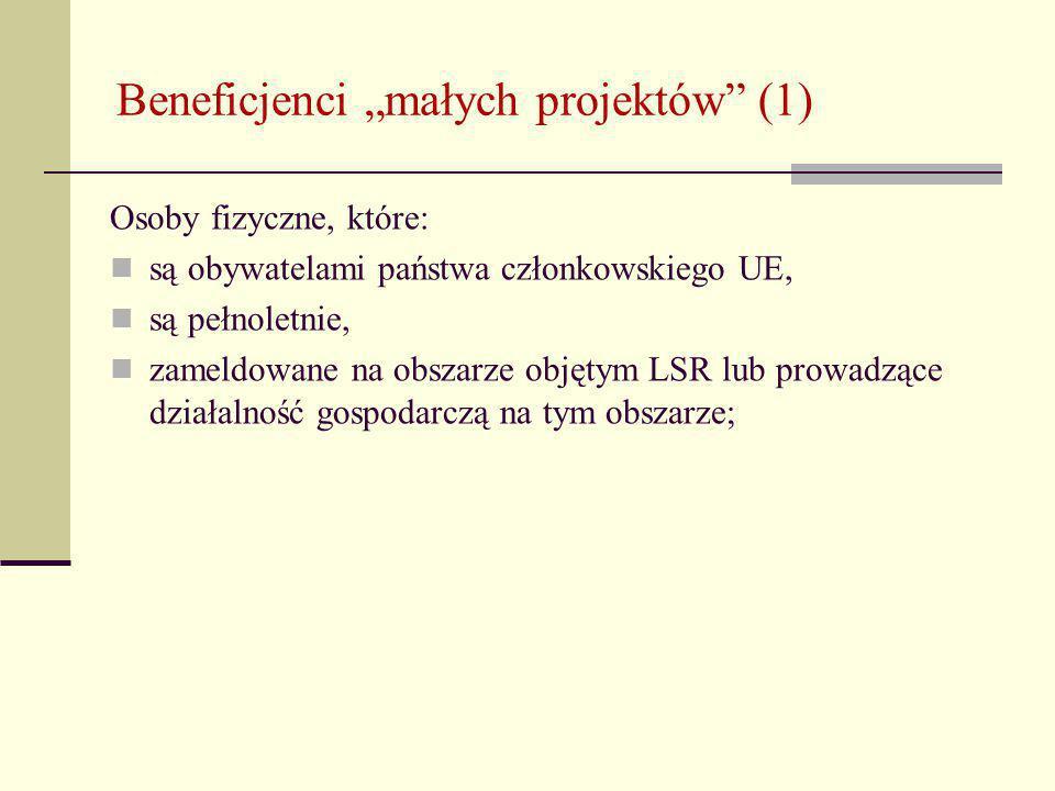"""Beneficjenci """"małych projektów (1) Osoby fizyczne, które: są obywatelami państwa członkowskiego UE, są pełnoletnie, zameldowane na obszarze objętym LSR lub prowadzące działalność gospodarczą na tym obszarze;"""