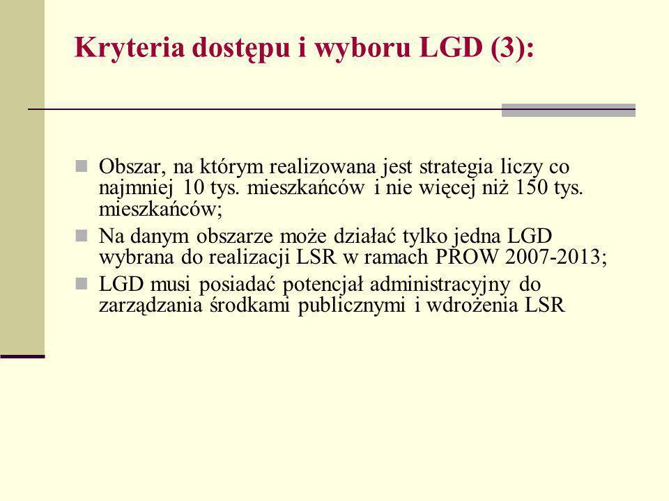 Kryteria dostępu i wyboru LGD (3): Obszar, na którym realizowana jest strategia liczy co najmniej 10 tys.