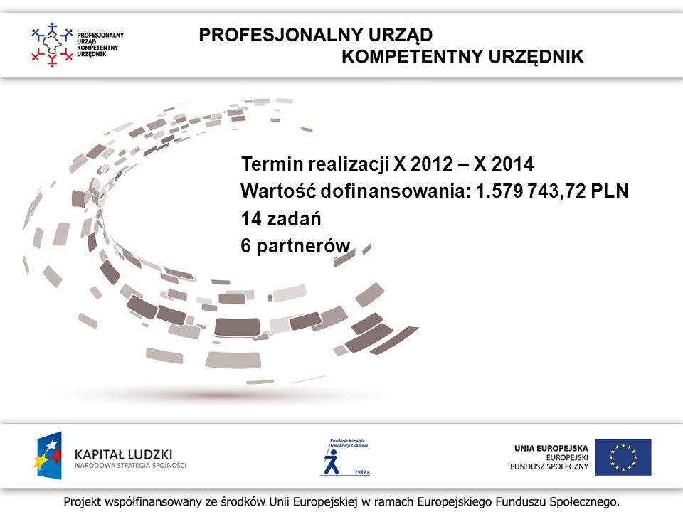 Termin realizacji X 2012 – X 2014 Wartość dofinansowania: 1.579 743,72 PLN 14 zadań 6 partnerów