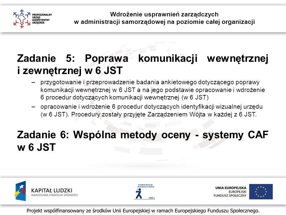 Wdrożenie usprawnień zarządczych w administracji samorządowej na poziomie całej organizacji Zadanie 5: Poprawa komunikacji wewnętrznej i zewnętrznej w 6 JST –przygotowanie i przeprowadzenie badania ankietowego dotyczącego poprawy komunikacji wewnętrznej w 6 JST a na jego podstawie opracowanie i wdrożenie 6 procedur dotyczących komunikacji wewnętrznej (w 6 JST) –opracowanie i wdrożenie 6 procedur dotyczących identyfikacji wizualnej urzędu (w 6 JST).