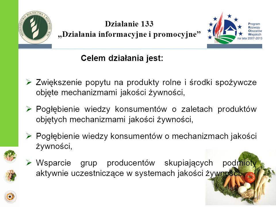 Celem działania jest:  Zwiększenie popytu na produkty rolne i środki spożywcze objęte mechanizmami jakości żywności,  Pogłębienie wiedzy konsumentów