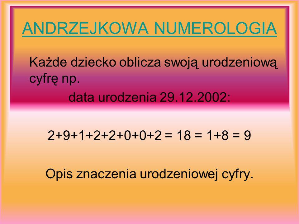 ANDRZEJKOWA NUMEROLOGIA Każde dziecko oblicza swoją urodzeniową cyfrę np. data urodzenia 29.12.2002: 2+9+1+2+2+0+0+2 = 18 = 1+8 = 9 Opis znaczenia uro