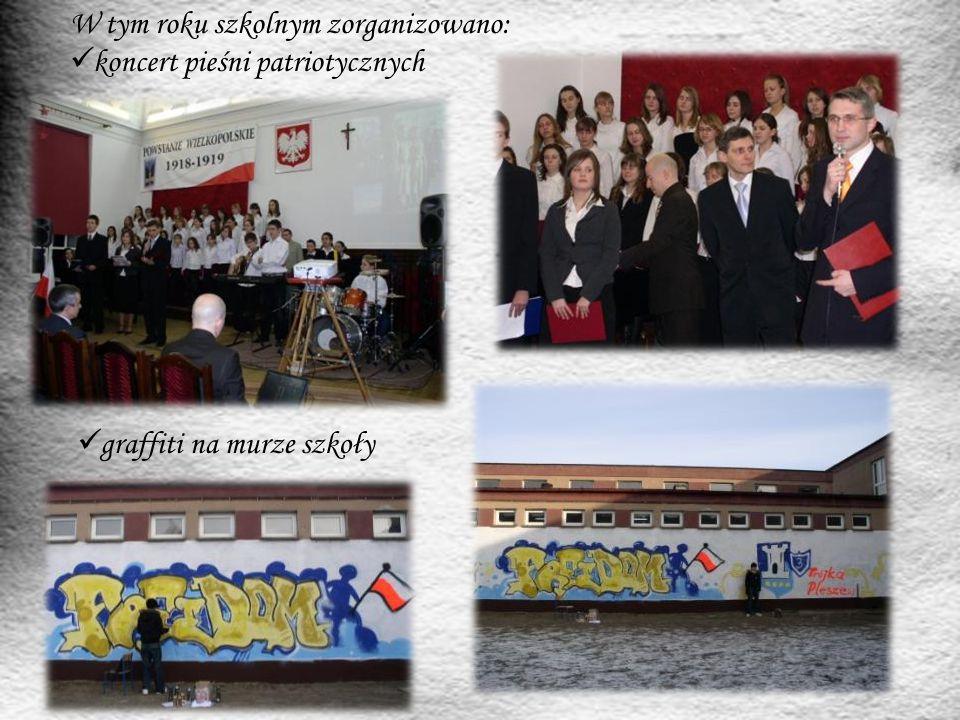 W tym roku szkolnym zorganizowano: koncert pieśni patriotycznych graffiti na murze szkoły