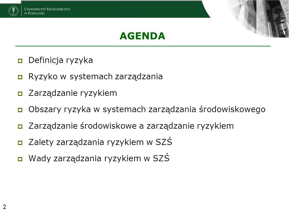 AGENDA  Definicja ryzyka  Ryzyko w systemach zarządzania  Zarządzanie ryzykiem  Obszary ryzyka w systemach zarządzania środowiskowego  Zarządzani