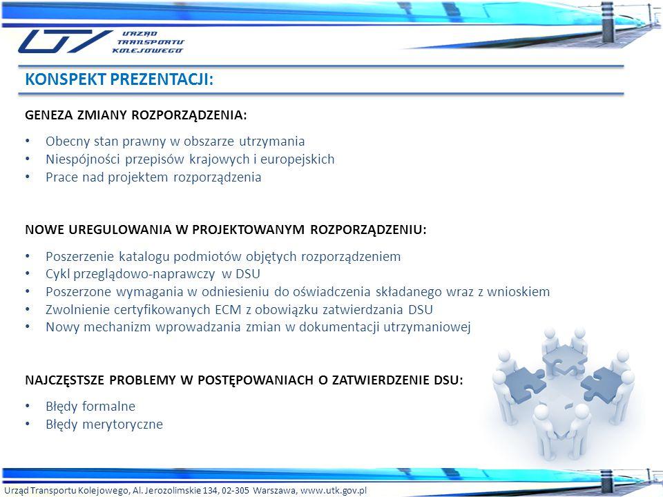 Urząd Transportu Kolejowego, Al. Jerozolimskie 134, 02-305 Warszawa, www.utk.gov.pl KONSPEKT PREZENTACJI: GENEZA ZMIANY ROZPORZĄDZENIA: Obecny stan pr