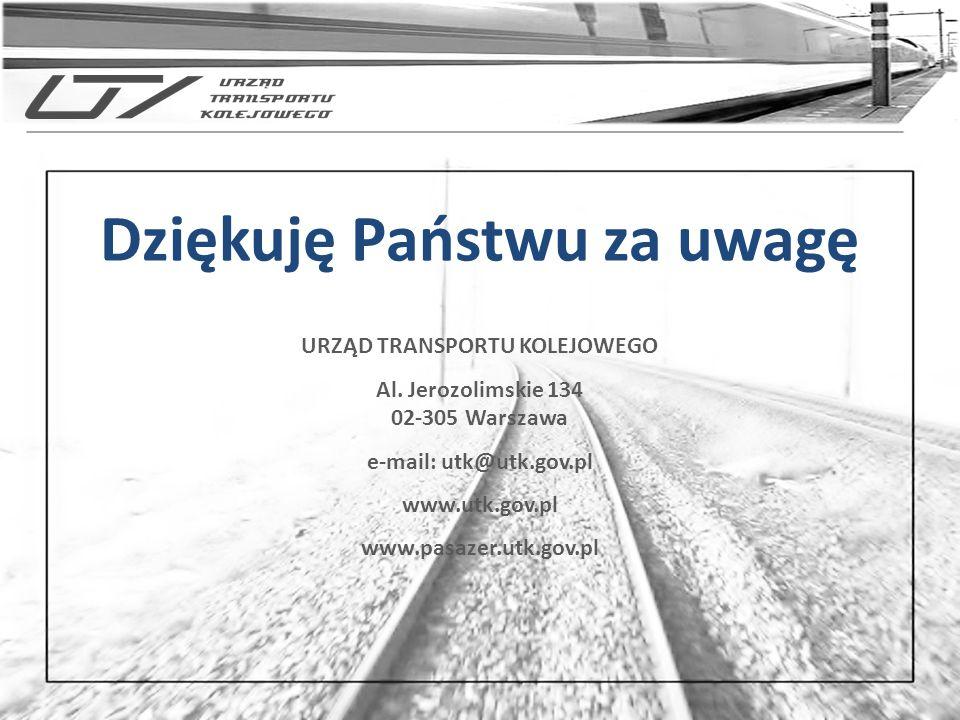 URZĄD TRANSPORTU KOLEJOWEGO Al. Jerozolimskie 134 02-305 Warszawa e-mail: utk@utk.gov.pl www.utk.gov.pl www.pasazer.utk.gov.pl
