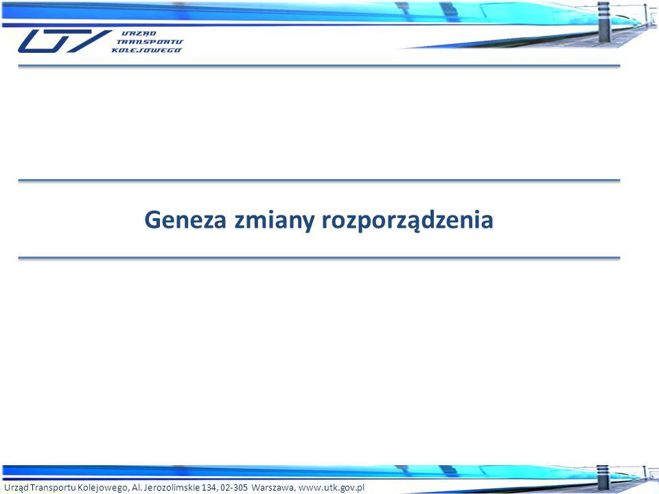 Urząd Transportu Kolejowego, Al. Jerozolimskie 134, 02-305 Warszawa, www.utk.gov.pl Geneza zmiany rozporządzenia