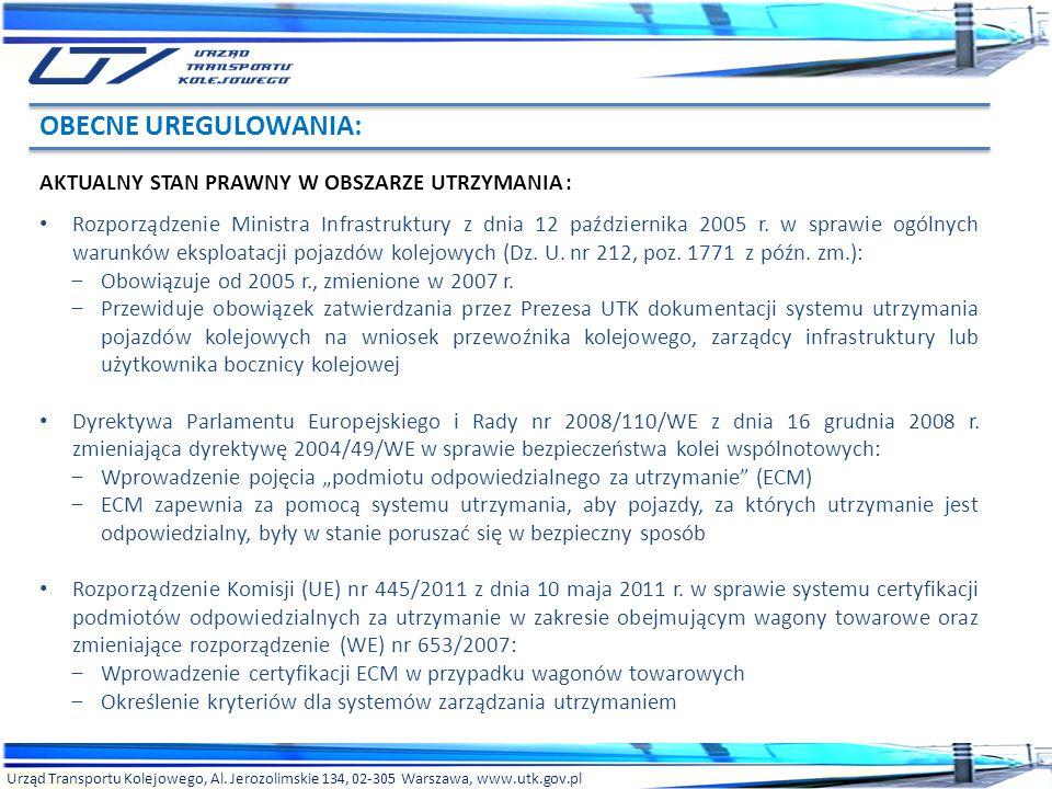 Urząd Transportu Kolejowego, Al. Jerozolimskie 134, 02-305 Warszawa, www.utk.gov.pl AKTUALNY STAN PRAWNY W OBSZARZE UTRZYMANIA: Rozporządzenie Ministr