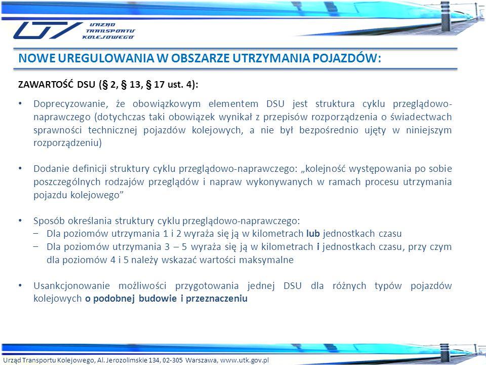 Urząd Transportu Kolejowego, Al. Jerozolimskie 134, 02-305 Warszawa, www.utk.gov.pl ZAWARTOŚĆ DSU (§ 2, § 13, § 17 ust. 4): Doprecyzowanie, że obowiąz