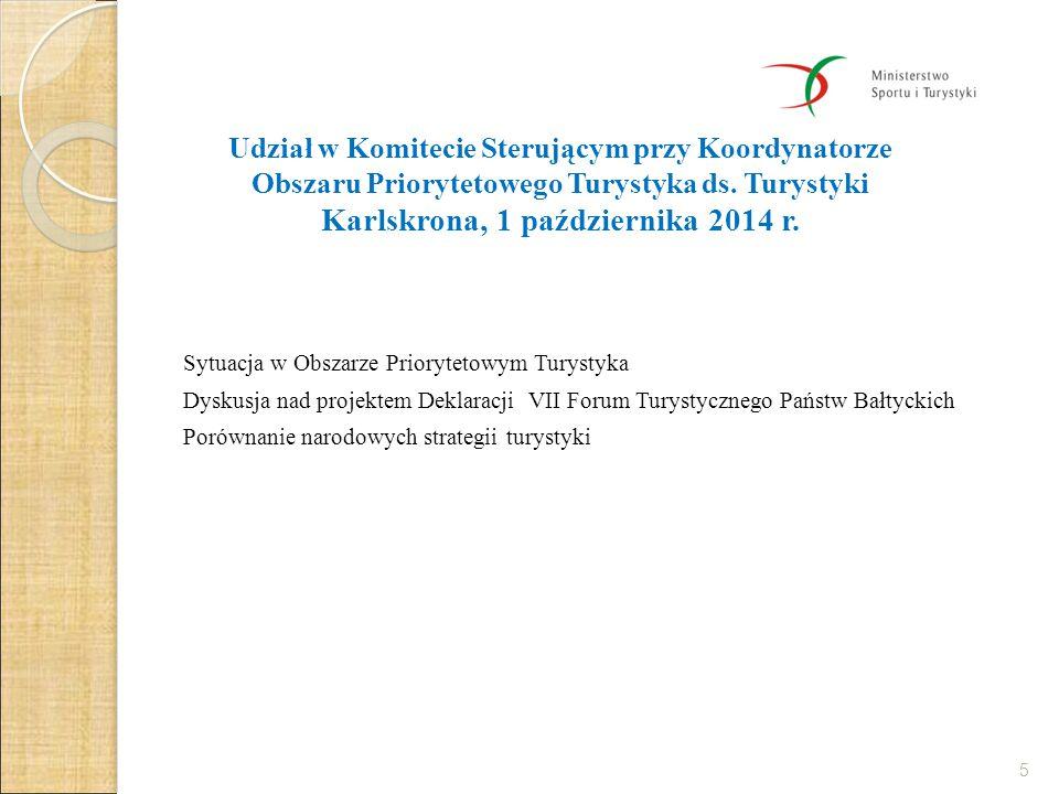"""Udział w VII Forum Turystycznym Państw Bałtyckich """"Biznes, Innowacje i Partnerstwo Karlskrona, 1-2 października 2014 r."""
