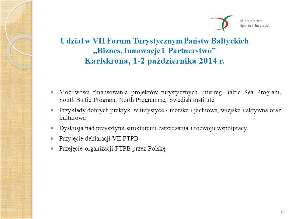 Organizacja VIII Forum Turystycznym Państw Bałtyckich Gdańsk-Malbork, 22-23 września 2014 Impreza w ramach polskiej prezydencji w Radzie Państw Morza Bałtyckiego 2/2015 Spotkanie organizacyjne 26 listopada 2014 w Warszawie, KOPT, UM, ROT-y, POT, Panele: polityczne poparcie dla OPT, dyskusja dot.