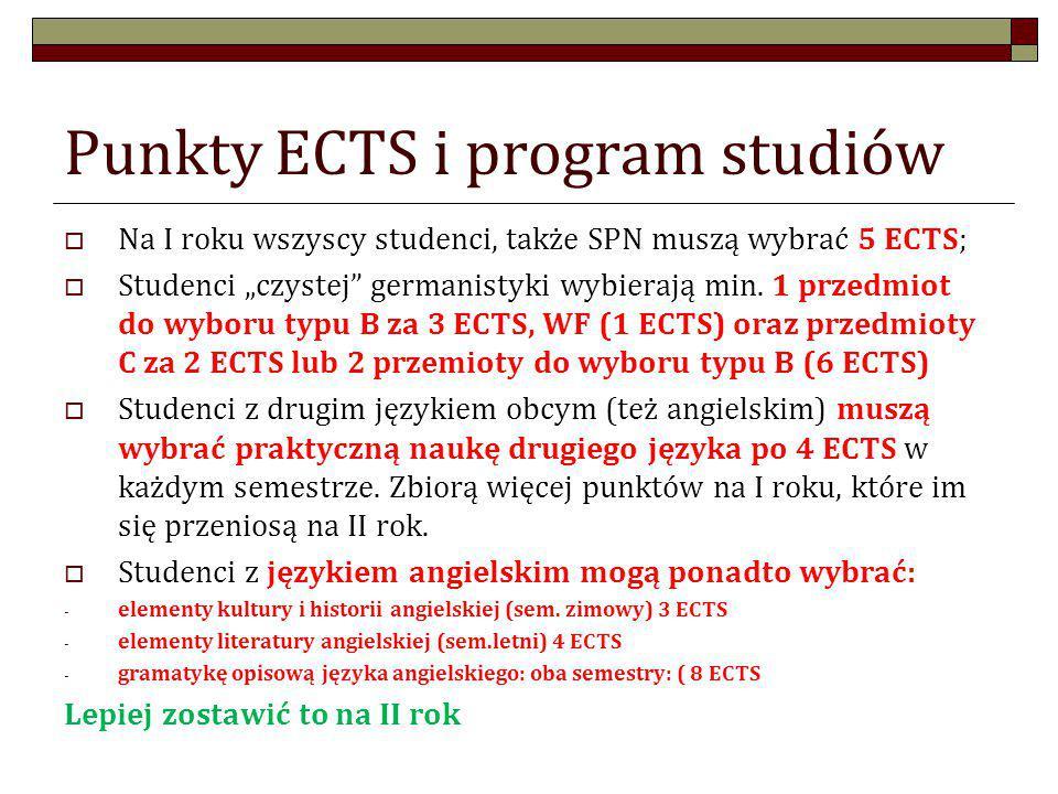 Oferta zajęć B i C dla studentów I roku Można (trzeba) wybrać WF: 1 ECTS: zapisy przez internet (zajęcia C) O ile czują się Państwo pewni językowo: w semestrze zimowym: - Zajęcia do wyboru projekt (prof.