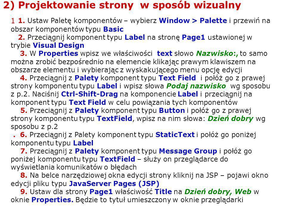 2) Projektowanie strony w sposób wizualny 1 1.