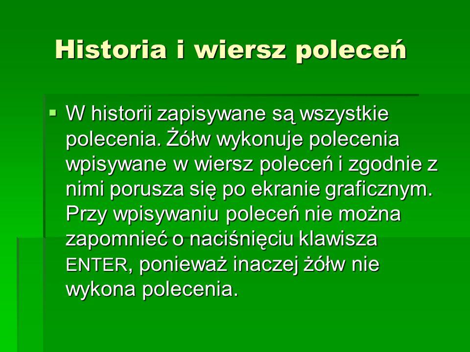 Wskazówki przydatne przy pisaniu poleceń  Używaj polskich liter oraz wstawiaj spacje między poleceniami, a jego parametrem.