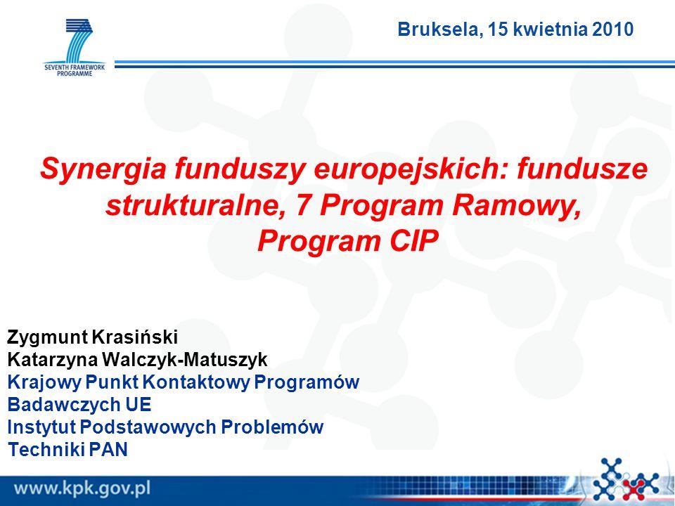 Zygmunt Krasiński Katarzyna Walczyk-Matuszyk Krajowy Punkt Kontaktowy Programów Badawczych UE Instytut Podstawowych Problemów Techniki PAN Synergia fu