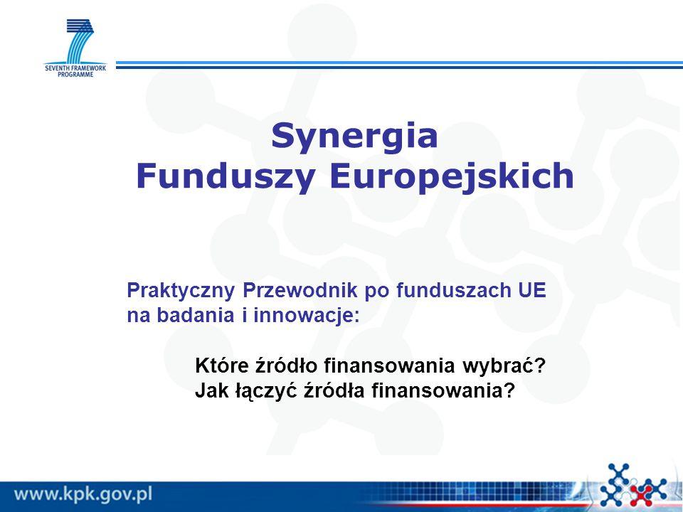 Synergia Funduszy Europejskich Praktyczny Przewodnik po funduszach UE na badania i innowacje: Które źródło finansowania wybrać? Jak łączyć źródła fina