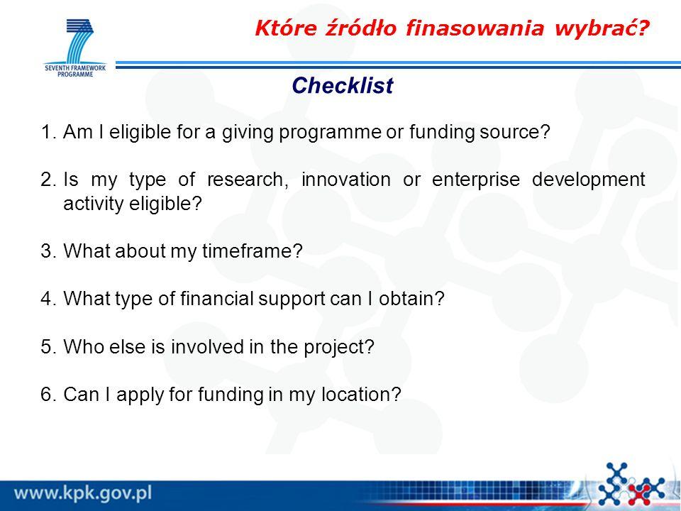 Które źródło finasowania wybrać. 1.Am I eligible for a giving programme or funding source.