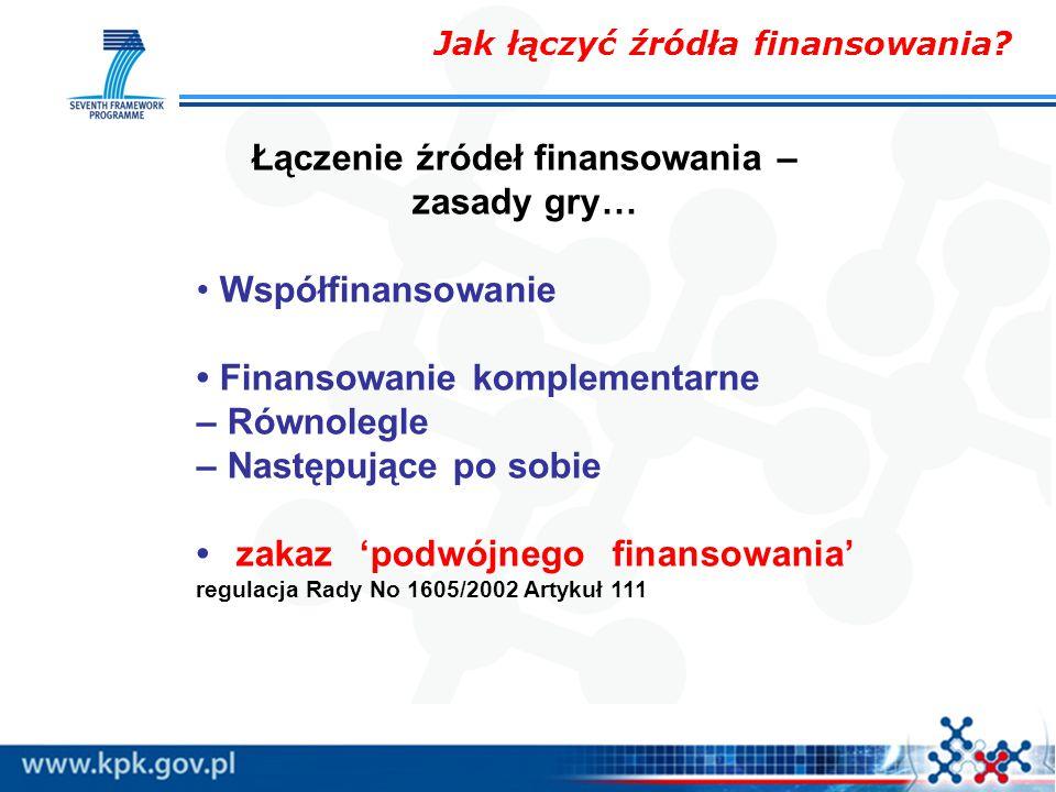 Łączenie źródeł finansowania – zasady gry… Współfinansowanie Finansowanie komplementarne – Równolegle – Następujące po sobie zakaz 'podwójnego finansowania' regulacja Rady No 1605/2002 Artykuł 111 Jak łączyć źródła finansowania