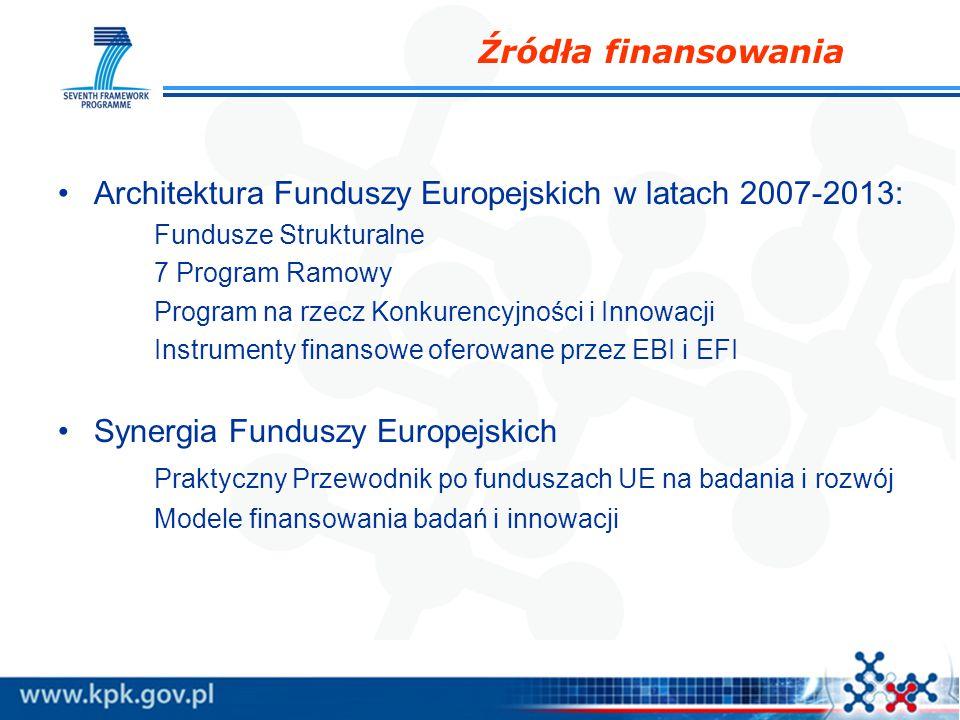 Źródła finansowania Architektura Funduszy Europejskich w latach 2007-2013: Fundusze Strukturalne 7 Program Ramowy Program na rzecz Konkurencyjności i Innowacji Instrumenty finansowe oferowane przez EBI i EFI Synergia Funduszy Europejskich Praktyczny Przewodnik po funduszach UE na badania i rozwój Modele finansowania badań i innowacji