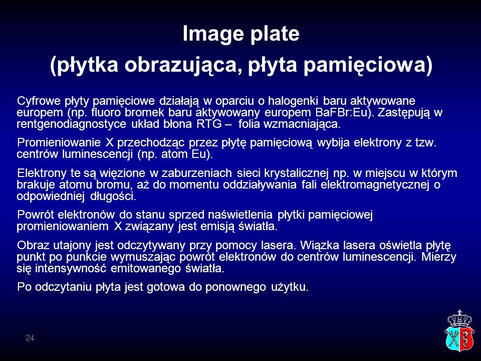 Image plate (płytka obrazująca, płyta pamięciowa) Cyfrowe płyty pamięciowe działają w oparciu o halogenki baru aktywowane europem (np. fluoro bromek b