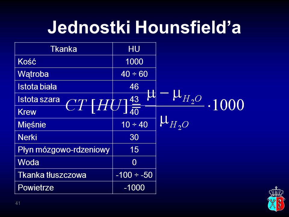Jednostki Hounsfield'a TkankaHU Kość1000 Wątroba40 ÷ 60 Istota biała46 Istota szara43 Krew40 Mięśnie10 ÷ 40 Nerki30 Płyn mózgowo-rdzeniowy15 Woda0 Tka