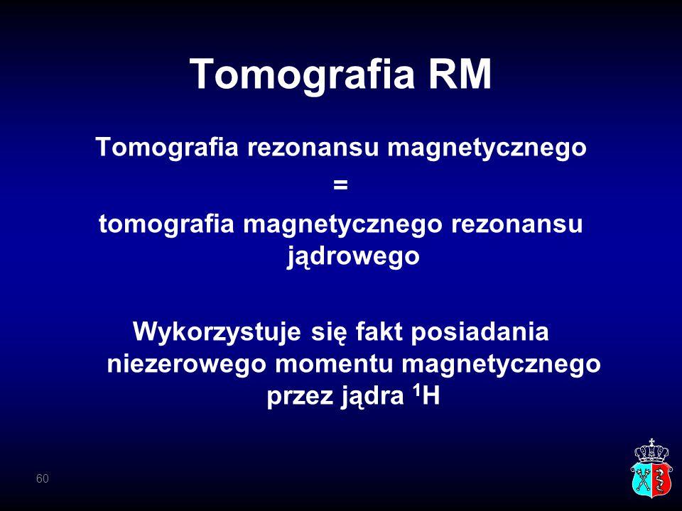 Tomografia RM Tomografia rezonansu magnetycznego = tomografia magnetycznego rezonansu jądrowego Wykorzystuje się fakt posiadania niezerowego momentu m