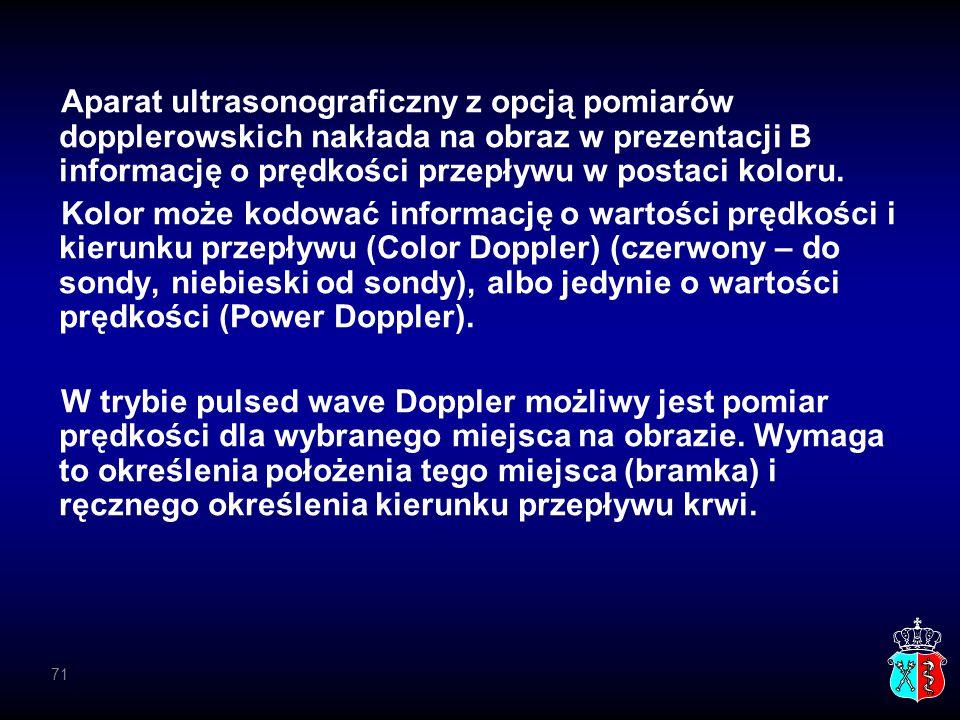 Aparat ultrasonograficzny z opcją pomiarów dopplerowskich nakłada na obraz w prezentacji B informację o prędkości przepływu w postaci koloru. Kolor mo