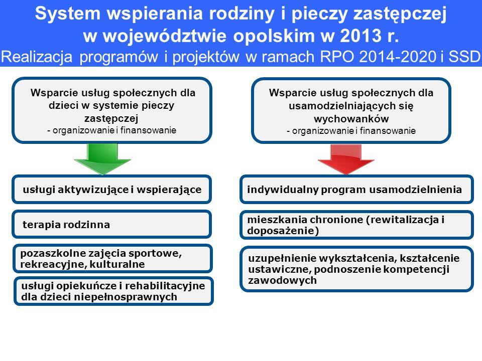 System wspierania rodziny i pieczy zastępczej w województwie opolskim w 2013 r. Realizacja programów i projektów w ramach RPO 2014-2020 i SSD Wsparcie